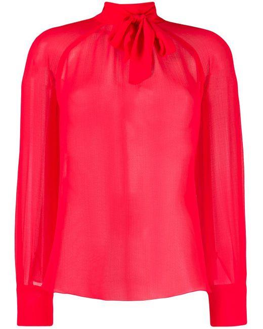 Blusa de gasa con lazo en el cuello KENZO de color Red