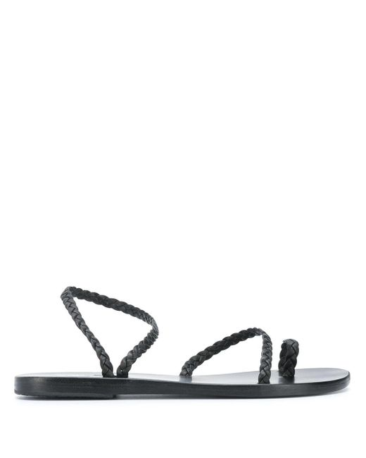 Ancient Greek Sandals Black Eleftheria Braided Sandals