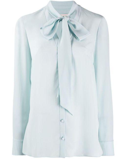 Крепдешиновая Блузка С Завязкой На Воротнике Alexander McQueen, цвет: Blue