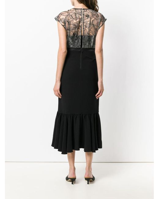 Three Floor Black Lace Detailed Dress