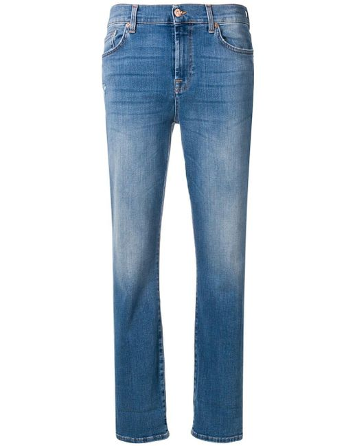 7 For All Mankind クロップド スリムジーンズ Blue