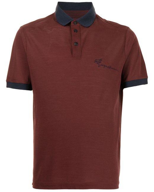 メンズ Giorgio Armani ロゴ ポロシャツ Red