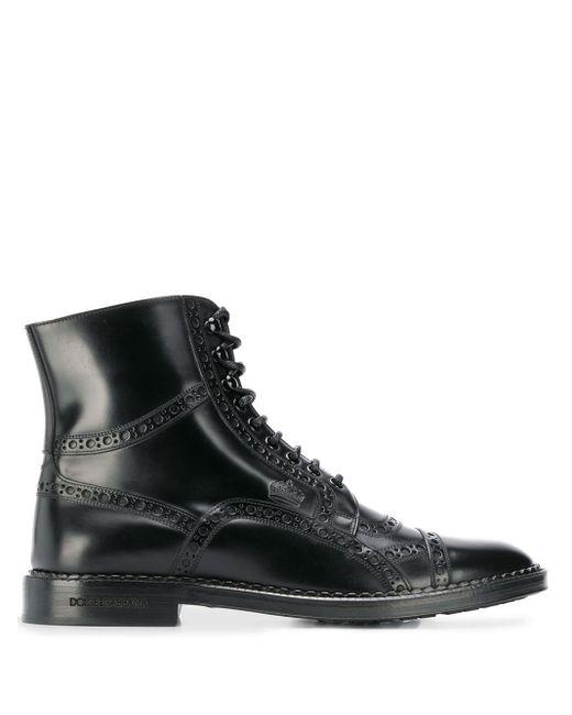 メンズ Dolce & Gabbana レースアップ アンクルブーツ Black