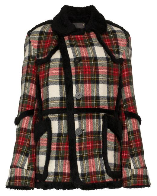 R13 Multicolor Oversized Check Shearling Wool Coat