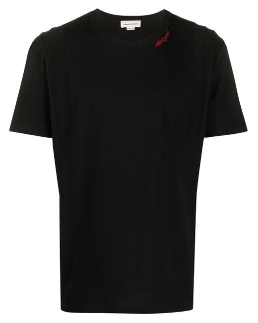 メンズ Alexander McQueen ロゴパッチ Tシャツ Black