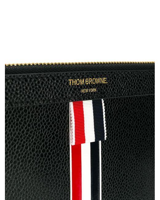 メンズ Thom Browne スモール ジッパータブレットホルダー(29.5 X 20cm) R/w/bグログランインターシャストライプ ペブルグレイン&カーフレザー Multicolor