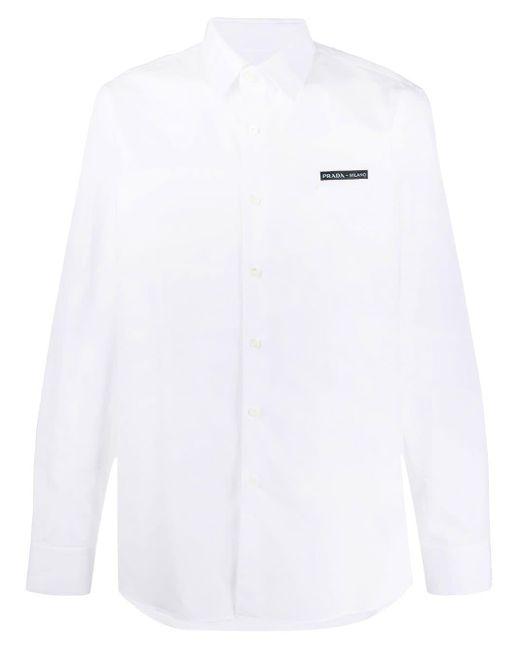 Camisa con parche del logo Prada de hombre de color White