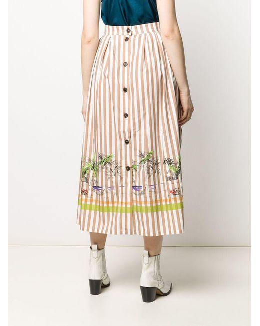 Erika Cavallini Semi Couture ストライプ Aラインスカート Brown