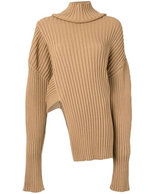 Джемпер Асимметричного Кроя В Рубчик С Высоким Воротником Proenza Schouler, цвет: Brown