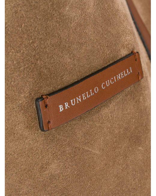 Borsa tote con logo di Brunello Cucinelli in Brown