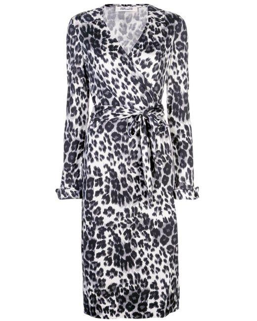 Diane von Furstenberg Black Leopard-print Wrap Dress