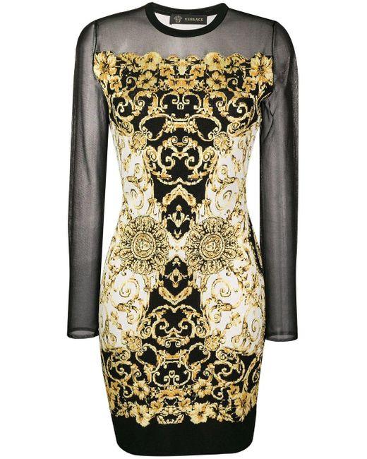 Versace - Black Baroque Print Dress - Lyst