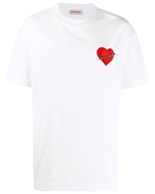 メンズ Palm Angels ハートパッチ Tシャツ White