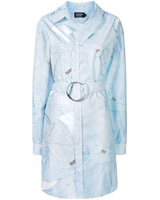 Andrea Crews プリント シャツドレス Blue