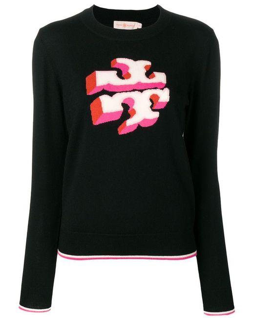 Tory Burch - Black Knitted Logo Jumper - Lyst