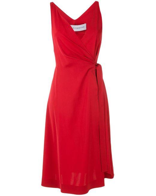 Gloria Coelho フレア ラップドレス Red