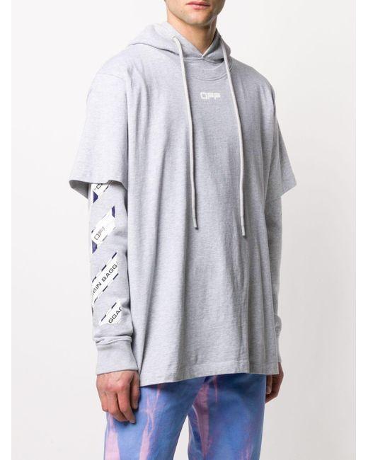 Многослойное Худи С Логотипом Off-White c/o Virgil Abloh для него, цвет: Gray