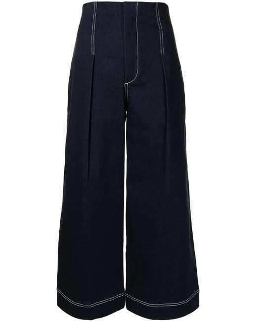 Alice McCALL Blue Contrast Stitching Flared Jeans