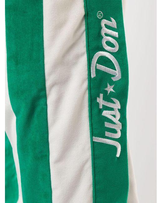 メンズ Just Don ストライプ トラックパンツ Green