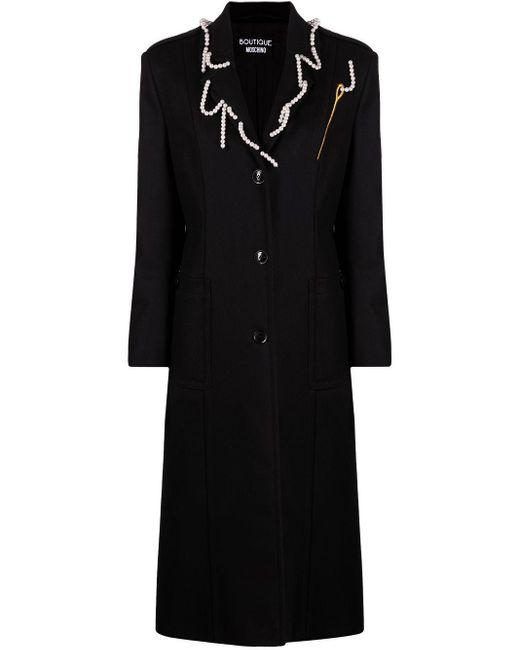 Boutique Moschino パールディテール コート Black