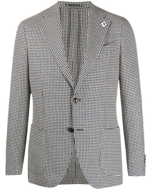 メンズ Lardini ハウンドトゥース チェックジャケット White