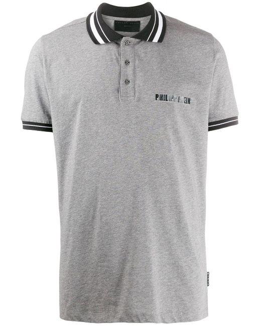 メンズ Philipp Plein ロゴ ポロシャツ Gray