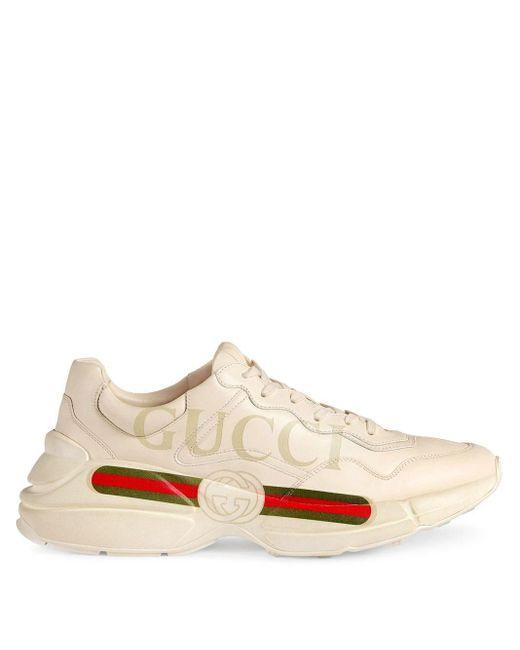 Gucci Multicolor Gucci Rhyton Logo Leather Sneaker for men