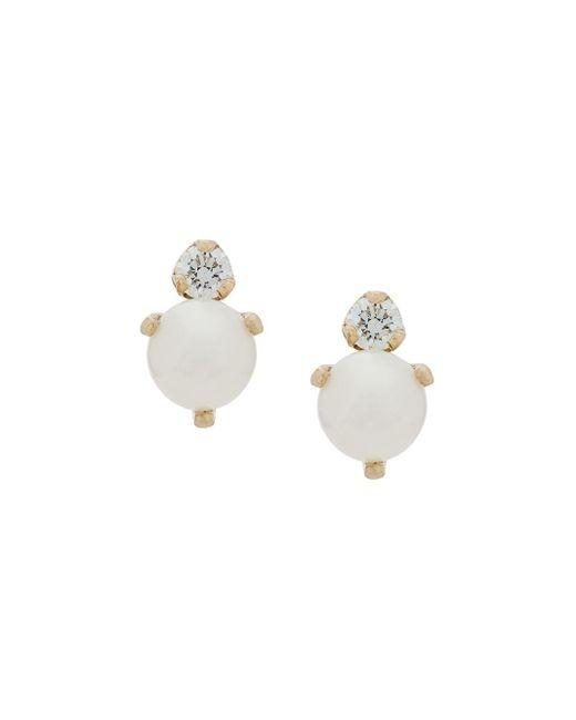 14kt Yellow Gold Diamond And Pearl Studs Zoe Chicco, цвет: Metallic