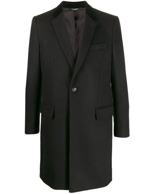 メンズ Dolce & Gabbana エンボスボタン コート Black