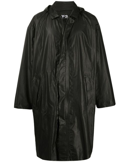 メンズ Y-3 オーバーサイズ パーカーコート Black