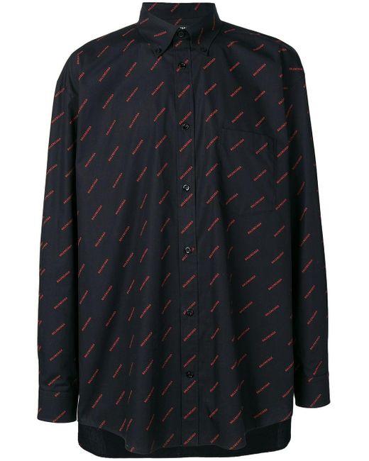 メンズ Balenciaga ロゴ シャツ Black