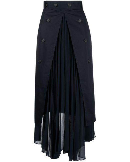 ROKH プリーツ マキシスカート Blue