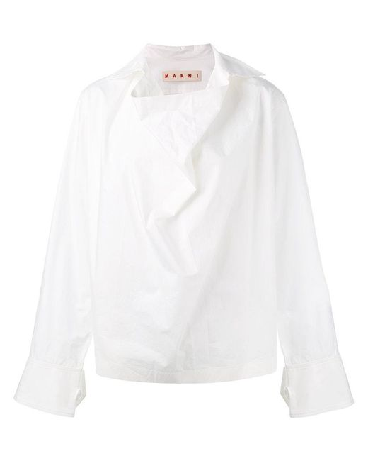 Marni | White Cowl Neck Blouse | Lyst