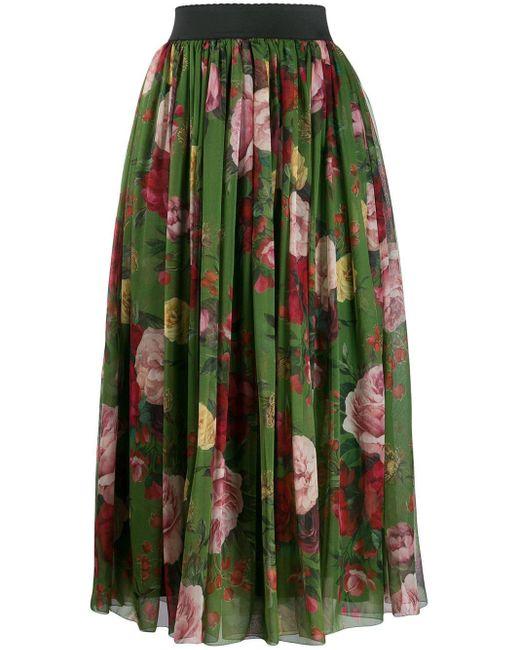 Dolce & Gabbana フローラル ミディスカート Green