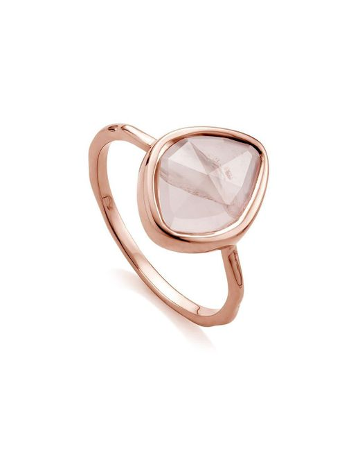 Monica Vinader Pink Siren Small Nugget Stacking Rose Quartz Ring