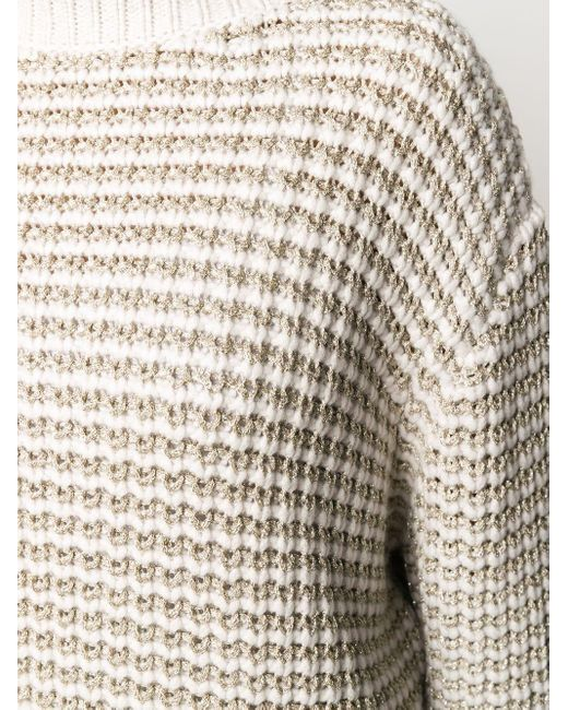 Фактурный Джемпер С Эффектом Металлик Brunello Cucinelli, цвет: White