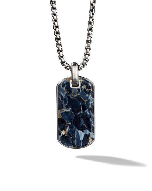 メンズ David Yurman Exotic Stone Pietersite クォーツ ネックレス スターリングシルバー Blue