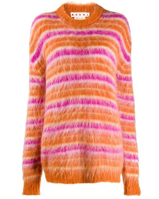 Marni Orange Striped Mohair Jumper
