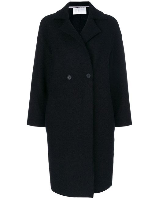 Harris Wharf London | Black Double Breasted Coat | Lyst