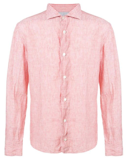 メンズ Eleventy ストライプ シャツ Pink