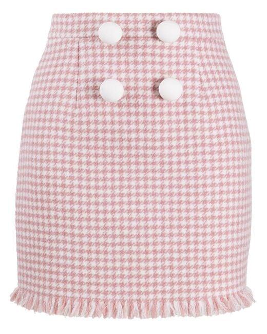 Loulou ハウンドトゥース ミニスカート Pink