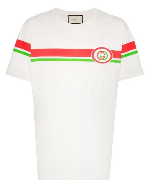 メンズ Gucci Ggインターロックロゴ コットンtシャツ White