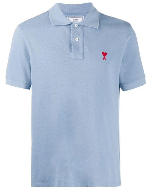 AMI Blue Logo-embroidered Polo Shirt for men