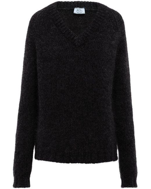 Jersey con cuello en V Prada de color Black