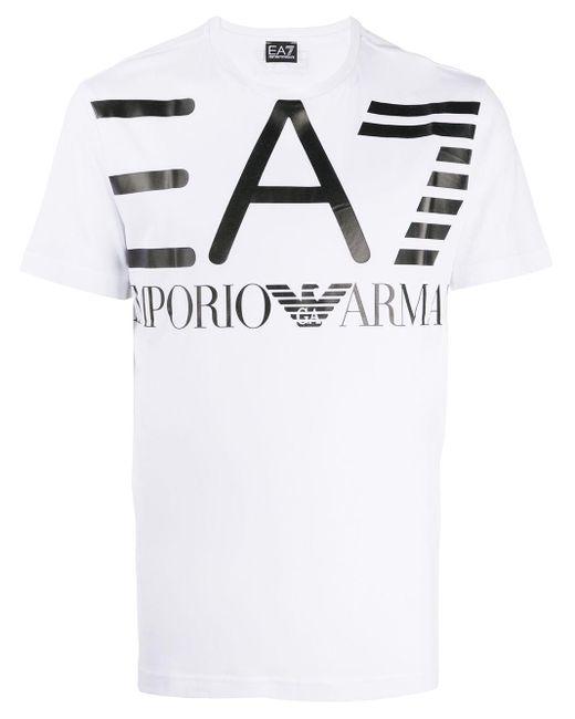メンズ EA7 ロゴ Tシャツ White