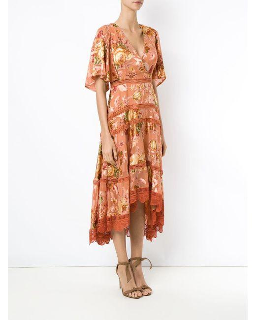 Martha Medeiros フローラル イブニングドレス Orange