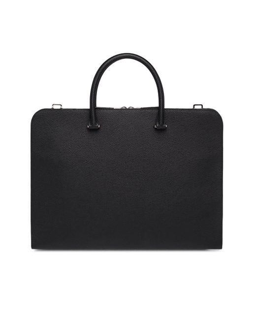 Porte-documents en cuir Prada pour homme en coloris Black