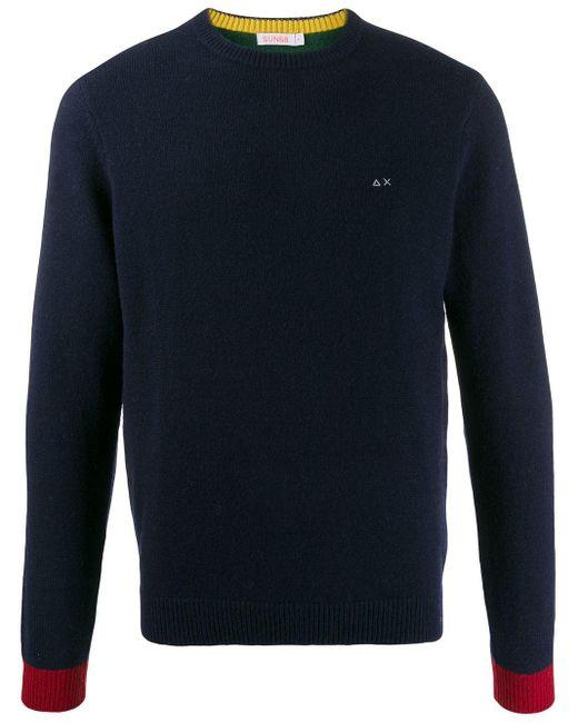 メンズ Sun 68 コントラストカフス セーター Blue