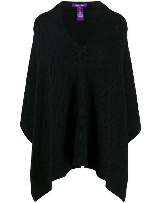Кашемировое Пончо Фактурной Вязки Ralph Lauren Collection, цвет: Black