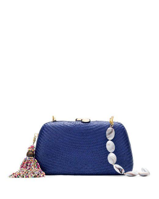 Соломенный Клатч Serpui, цвет: Blue
